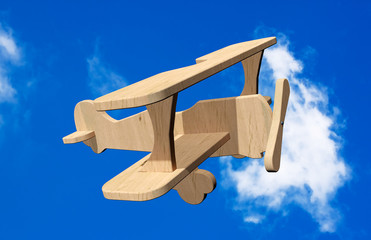 3d Wooden toy airplane