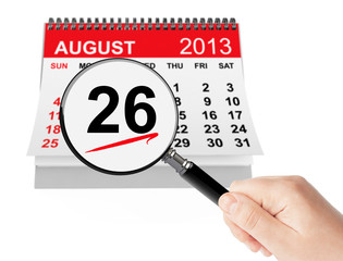 Women's Equality Day Concept. 26 August 2013 calendar with magni