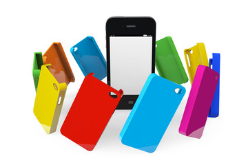 Mobile Phone with MultiColor plastic cases