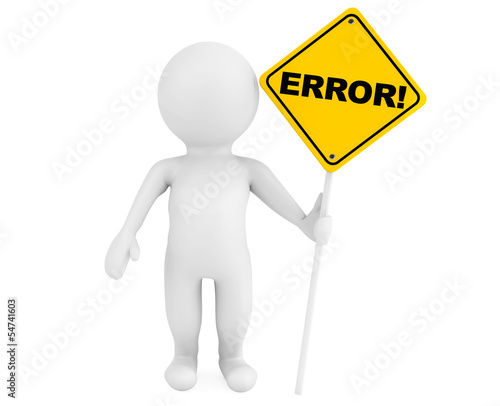 3d person with Error traffic sign