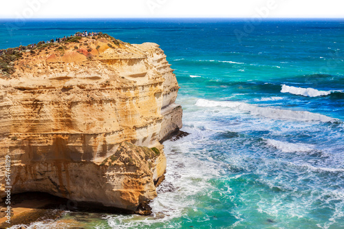 Great Ocean Road and tourists on a cliff