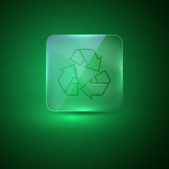 glass icon with recycle sign