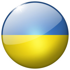 Ukraine Round Glass shiny realistic Button
