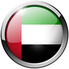United Arab Emirates Round Metal Glass shiny realistic Button