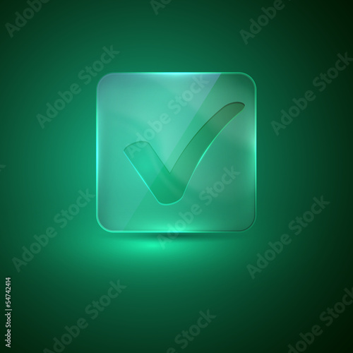 glass icon with tick