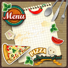 Menu pizza with sheet