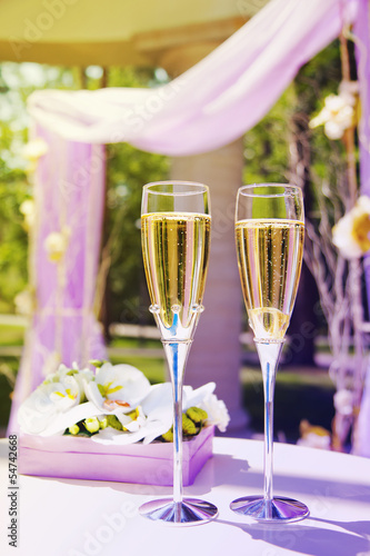 Beautiful wedding gazebo with champagne