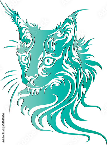 Cat portrait animal illustration ,tattoo design