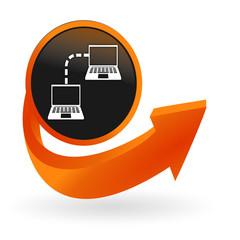 réseau informatique sur web bouton flèche orange