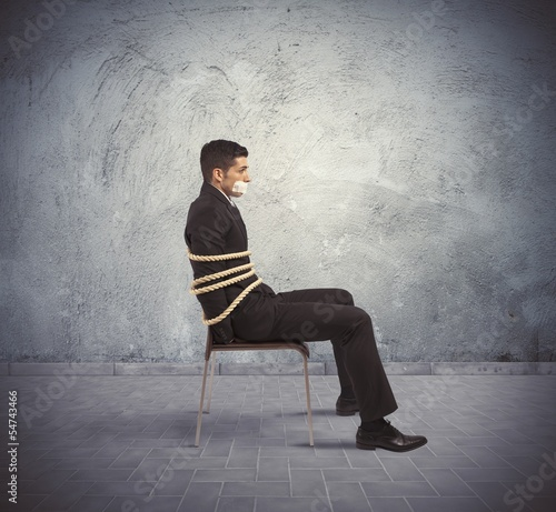 Trapped businessman