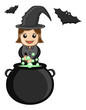 Cute Halloween Witch Cooking - Business Cartoon Characters