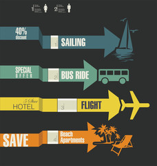 Travel infographics options banner with arrows