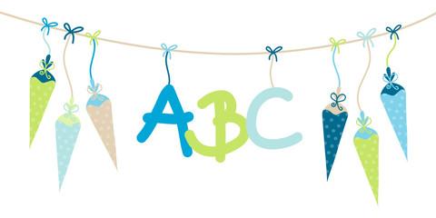Einschulung 6 Schultüten & ABC blau/beige