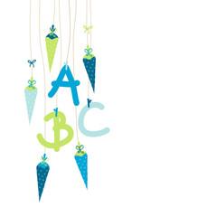 Einschulung 5 Schultüten & ABC blau/beige