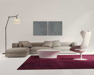 Contemporary elegant living room, grey sofa, white wood floor