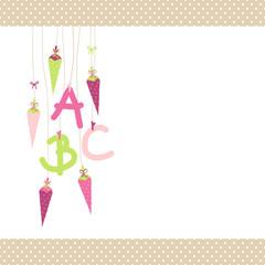 Einschulung 5 Schultüten & ABC pink/beige Punkte