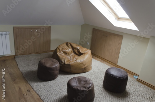 Garret attic studio room in country house
