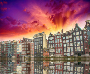 Amsterdam. Typical Dutch Homes over the canal
