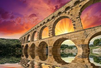 Pont du Gard, Provence - France. Ancient Roman Aqueduct at sunse