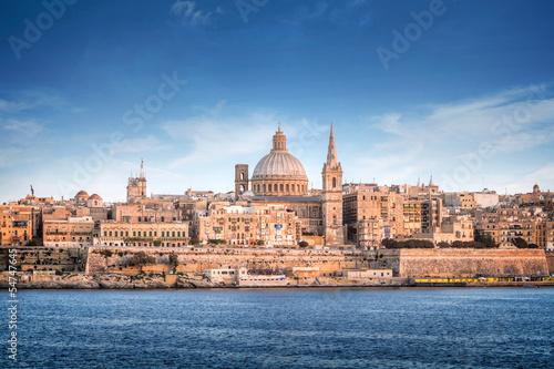 Leinwandbild Motiv Valletta skyline with the St. Pauls Cathedral