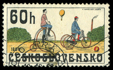CZECHOSLOVAKIA - CIRCA 1986 shows the image of retro Bicycle