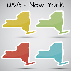stickers in form of New York state, USA
