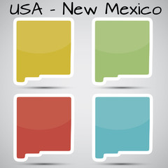 stickers in form of New Mexico state, USA