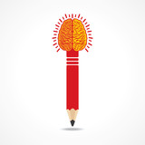 Pencil with brain-vector illustration