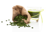 Detox. Green pills with green juice. poster