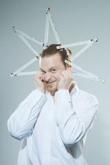humorous man with folding yardstick