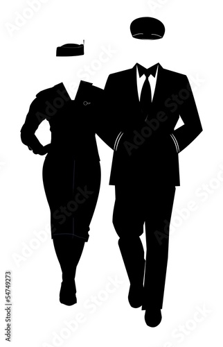 pilot and airline hostess in silhouette