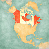 Map of North America - Canada (Vintage Series)