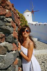Beautiful woman on Santorini, Oia