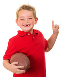 Portrait of happy child with football isolated on white