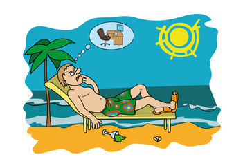 Workaholic on vacation worrying about work