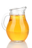 Full jug of apple juice, isolated on white
