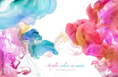 Acrylic colors in water. Abstract background. - 54752688
