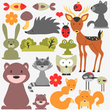 Set of cute wild animals