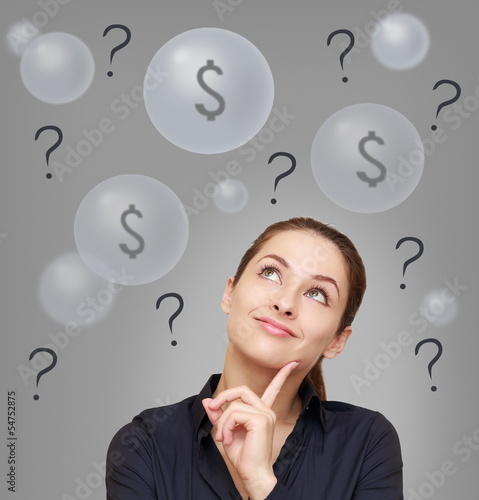Confusion business woman thinking about earning money. Money con