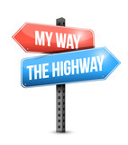 my way, the highway. road sign illustration