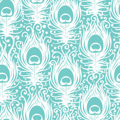 Soft peacock feathers vector seamless pattern background with