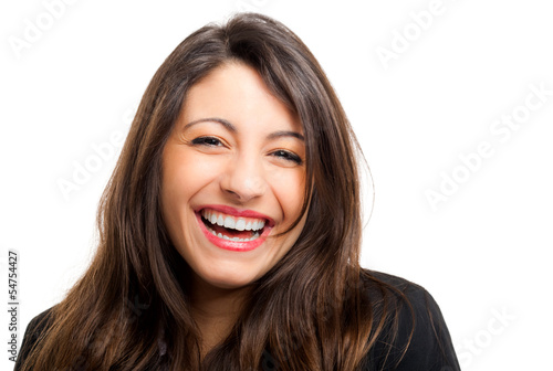 Businesswoman laughing isolated on white