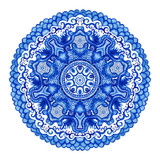 Watercolor vector gzhel. Doily round lace pattern, circle backgr