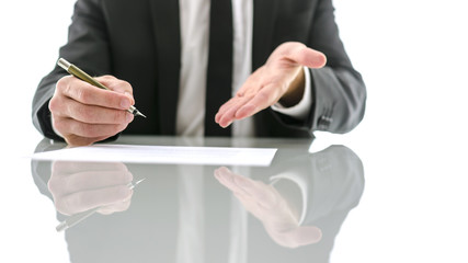 Businessman inviting you to sign a contract