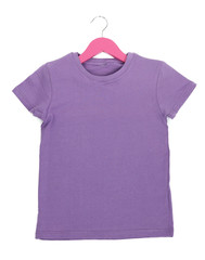 Purple t-shirt on hanger isolated on white