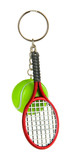 Key chain-tennis racket and tennis ball isolated on white