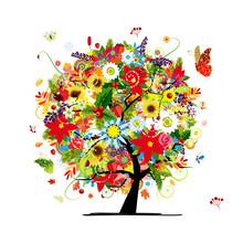 Cztery pory roku. Koncepcja Drzewo sztuki dla projektu