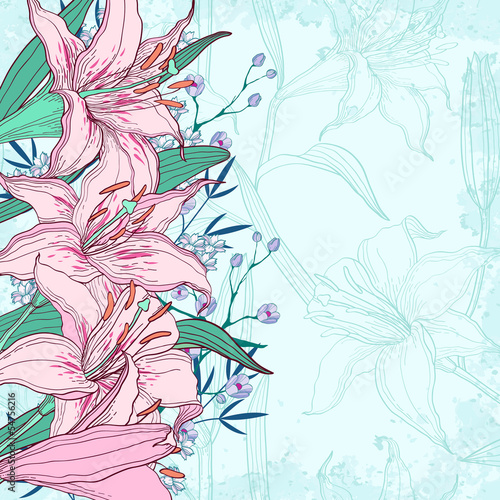 Beautiful vector background with lilies