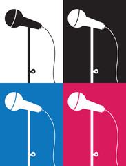 Wired microphone silhouette in different colors
