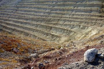 Volcanic land.Bentonite quarry.Milos island.Greece.